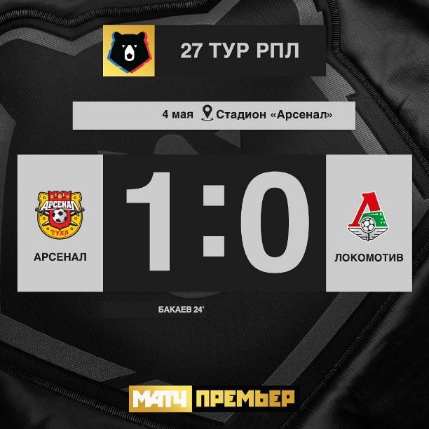 «Арсенал» дома обыграл «Локомотив»: 2:0